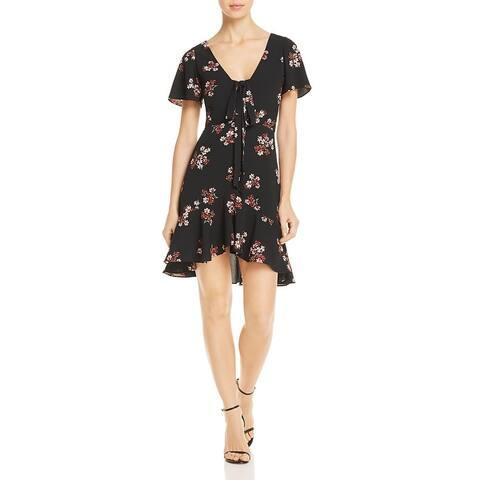 BB Dakota Womens Party Dress Floral Print Ruffled - Black