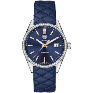 Link to Tag Heuer Women's WAR1114.FC6391 'Carrera' Diamond Blue Quilted Leather Watch Similar Items in Women's Watches