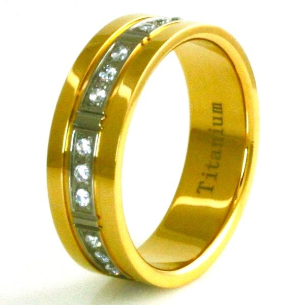 Gold Plated Titanium Trinity Cubic Zirconia Ring