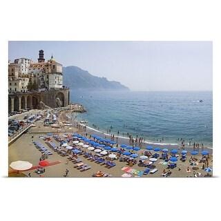 Poster Print entitled Houses on the sea coast, Amalfi Coast, Atrani, Salerno, Campania, Italy