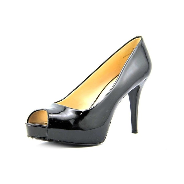 Nine West Camya Women Peep-Toe Synthetic Black Heels
