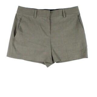 Theory NEW Dark Moss Green Women's Size 4 Tab Flat Front Shorts