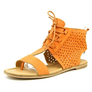 Lucky Brand Baari Women Open Toe Leather Tan Gladiator Sandal