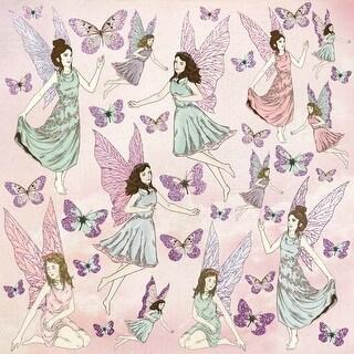 """Flutterby - Fairy Garden Glittered Cardstock 12""""X12"""" (10/Pack)"""