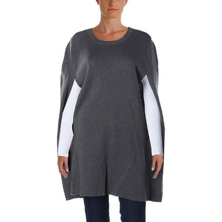 DKNY Womens Cape Sweater Wool Crew Neck