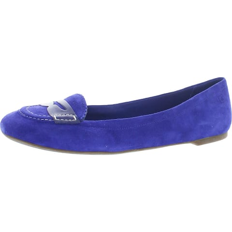 Sperry Womens Brooks Blue Suede Fashion Loafers Suede Slip-On - Blue Suede
