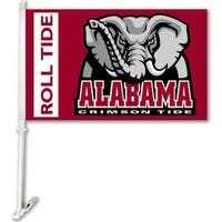 Bsi Products Inc Alabama Crimson Tide Car Flag With Wall Brackett Car Flag