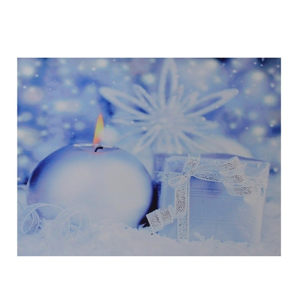 "LED Lighted Candle and Gift Wintry Scene Christmas Canvas Wall Art 12"" x 15.75"" - BLue"
