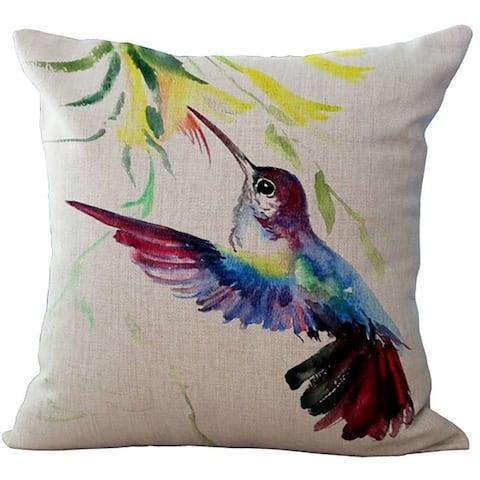 ChezMax Linen Blend Ink Painting Birds Pattern Cushion Cotton Square Decorative Throw Pillow 18 X 18''