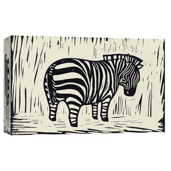 "PTM Images 9-103696 PTM Canvas Collection 8"" x 10"" - ""Zebra Linocut"" Giclee Zebras Art Print on Canvas"