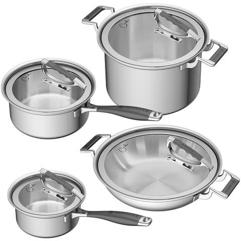 CookCraft by Candace 8-Piece Tri-Ply Stainless Steel Luxury Cookware Set
