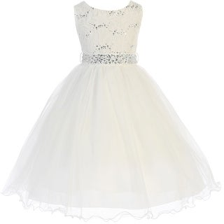Glitters Sequined Bodice Double Layer Tulle Flower Girl Dress Ivory