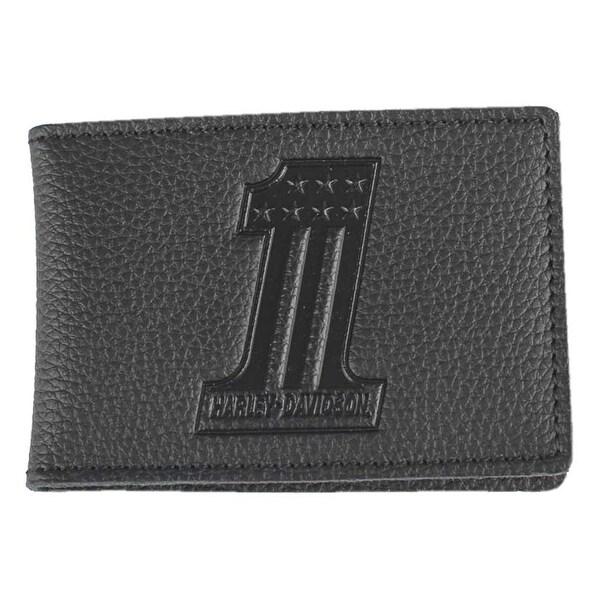 "Harley-Davidson Men's Embossed #1 Logo Leather Duo-Fold Wallet XML3863-BLACK - 4"" x 2.75"""