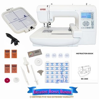 Janome Memory Craft 200E Embroidery Machine w/ Bonus Bundle