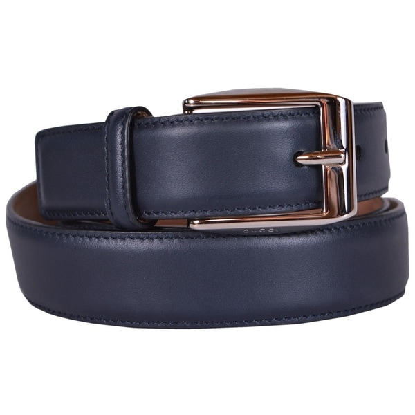 856f6b23586a8c Shop Gucci Men's Smooth 336831 Navy Blue Leather Logo Buckle Belt ...