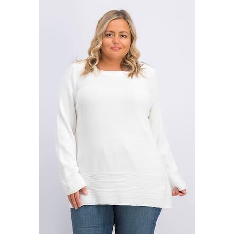 Karen Scott Women's Cotton Boat-Neck Sweater White Size Small