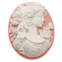 Vintage Style Oval Cameo - Pink With White Grecian Woman 40x30mm (1 Piece)