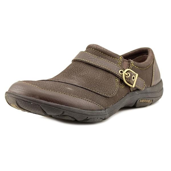 Merrell Dassie Buckle Women Round Toe Leather Brown Loafer