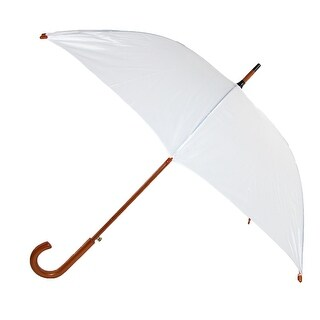 iRain Women's White Auto Open Wood Handle Wedding Umbrella, White - one size