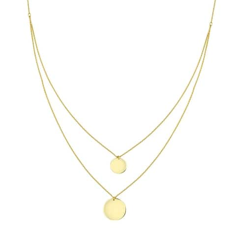 """Curata Solid 14k Yellow Gold 10m and 13m Disc Double Strand Bib Necklace,18"""""""
