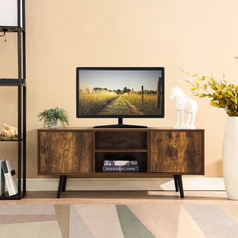 CO-Z Mid-Century Retro Entertainment Center TV Stand for 55 Inch TVs