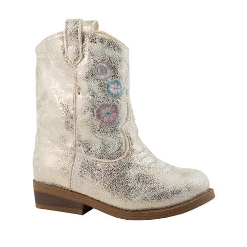 Baby Deer Little Girls Ivory Champagne Shimmer Western Boots
