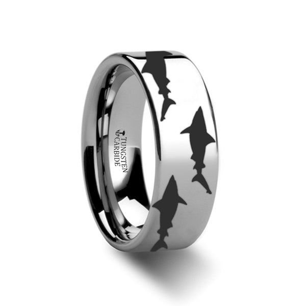 THORSTEN - Shark Predator Fish Sea Print Pattern Ring Engraved Flat Tungsten Ring - 6mm