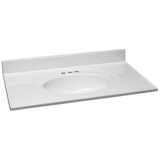 "Design House 550442 37"" Marble Drop-In Vanity Top with Integrated Sink and 3 Fau"