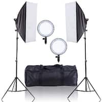 Costway Adjustable Bright LED Softbox Continuous Lighting Studio w/ 2 Stand Carrying Bag - as pic