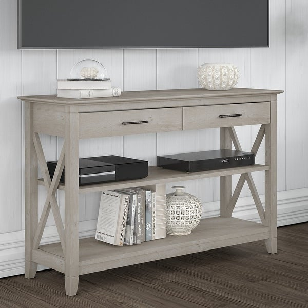 The Gray Barn Console Table with Drawers and Shelves. Opens flyout.