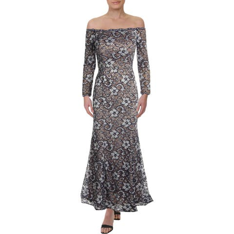 Xscape Womens Petites Evening Dress Floral Lace - Navy/Nude
