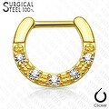 Five CZs Paved Single Line 316L Surgical Steel Septum Clicker (Sold Ind.) - Thumbnail 4