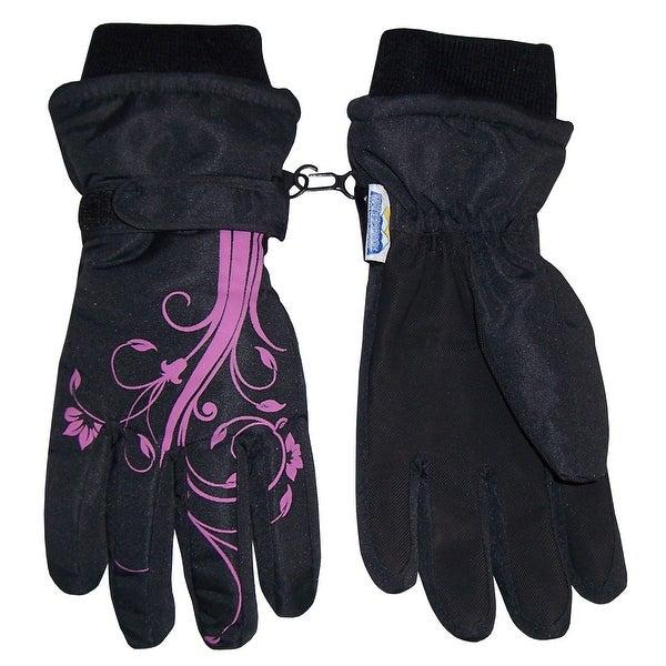 NICE CAPS Girls Thinsulate and Waterproof Winter Gloves with Flower Tattoo Print - Black/Fuchsia