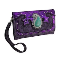 Paisley Motif Studded Metallic Trim Flocked Western Wallet w/Removable Strap