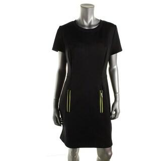 MICHAEL Michael Kors Womens Contrast Trim Short Sleeves Casual Dress - L