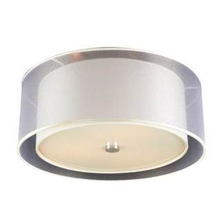 """PLC Lighting 7676 Merritt 3 Light 18"""" Wide Flush Mount Ceiling Fixture with Round Shaped Shade - Silver"""