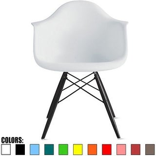 2xhome White Eames Dining Room Arm Chair With Black Wooden Eiffel Style Legs