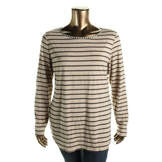 Studio M Womens Casual Top Heathered Striped