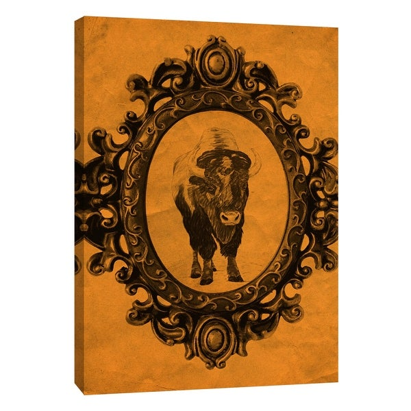 """PTM Images 9-108940 PTM Canvas Collection 10"""" x 8"""" - """"Framed Bison in Tangerine"""" Giclee Buffalo Art Print on Canvas"""