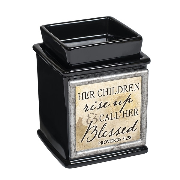 """5"""" Black and Gray Bible Verse Quoted Interchangeable Warmer - N/A"""