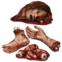 """Club Pack of 48 Bloody Body Parts Halloween Cutout Decorations 18"""" - Red"""