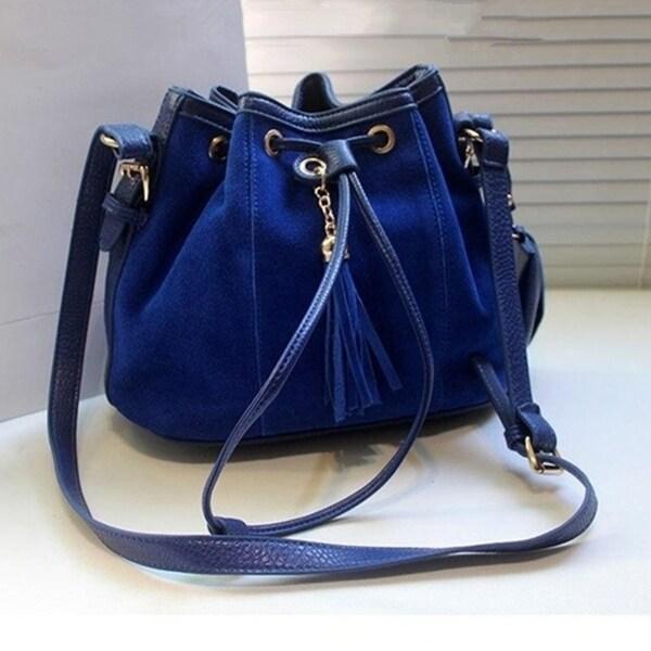 Promotion Bucket Bag Vintage Women Messenger bags Nubuck Leather Women  Shoulder bags Tassel Bolsas Mujer Crossbody f8174c763a40a