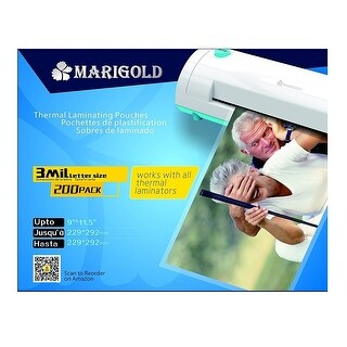 "Marigold 200-Pack Count 3 Mil Letter Size, 9""x11.5"", Thermal Laminating Pouch Laminator Film (TLP3LTR)"