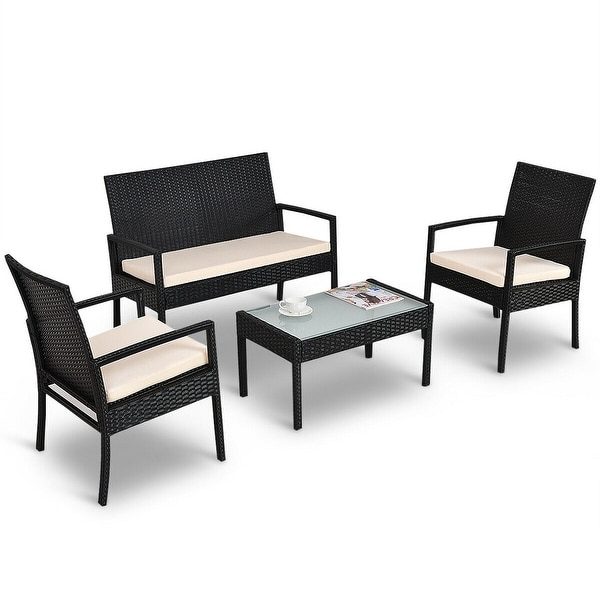 Cool Shop Costway 4 Pcs Outdoor Patio Furniture Set Table Chair Interior Design Ideas Clesiryabchikinfo