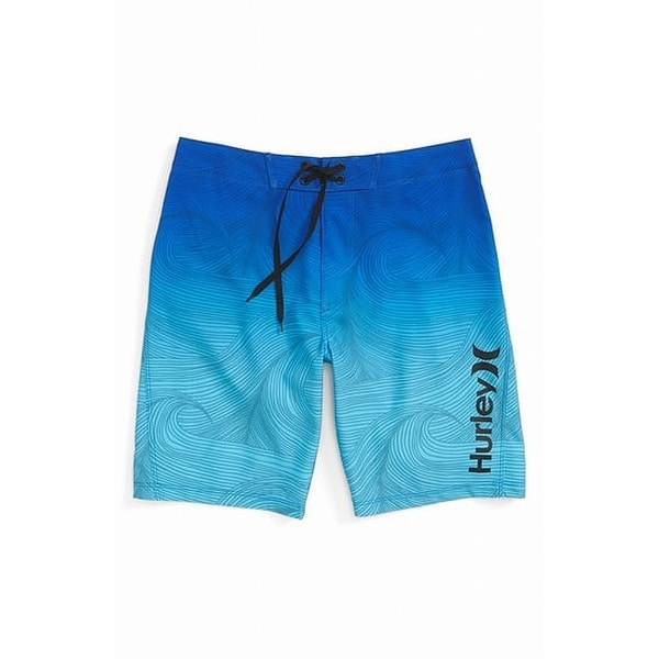 d7cb2214f1 Shop Hurley Blue Boys Size 16 Ombre Drawstring Printed Logo Swimwear - Free  Shipping On Orders Over $45 - Overstock - 27166779