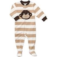 Carter's Little Boys' Footed Fleece Sleeper - Tan Striped Monkey-5T