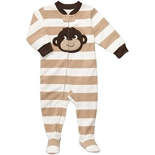 Carter's Little Boys' Footed Fleece Sleeper - Tan Striped Monkey-5T