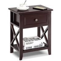 Costway Nightstand End Bedside Table Drawer Storage Room Decor Bottom Shelf