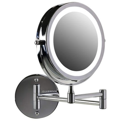 Ovente Wall Mounted Makeup Mirror 7X/10X, Polished Chrome (MFW70CH)