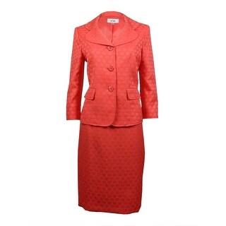 Le Suit Women's Cozumel Three Button Patterned Skirt Suit - Coral